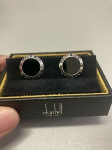 Alfred Dunhill Sterling Silver and Black Onyx Round Cufflinks