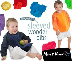 Mum 2 Mum SLEEVED Wonder Bib 6-18m/18m-3yrs. Coverall Bib, Weaning Bib, Feeding