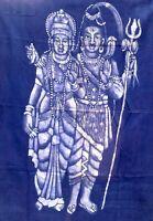 Shiva Parvati Tenture indienne Batik Fait main Dieux Hindou Bleu Inde Ganesha