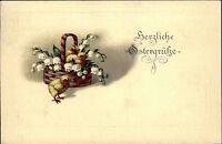 Frohe Ostern Glückwunsch 1917 Küken im Blumen Nest Prägekarte gelaufen Waldsee