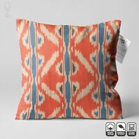 Ikat 100% Cotton Original Handwoven Cushion Cover | Orange & Blue Throw Pillow