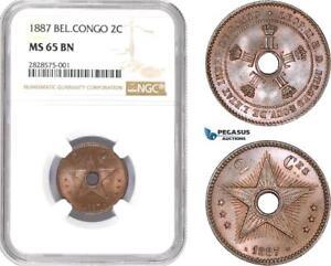 AD002-R, Belgian Congo, Leopold II, 2 Centimes 1887, NGC MS65BN