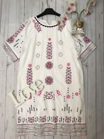 White Stuff Size 12 white embroidered loose fit holiday summer dress linen blend