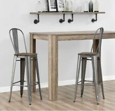 Light Bar Stool Set Of 2 Back 30 Inch Metal Rustic Wood Seat Farmhouse  Kitchen