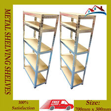 2 X NEW 1.5M H DUTY 5 TIER BOLTLESS METAL SHELVING SHELVES STORAGE UNIT SHELF