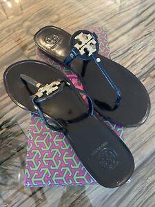 Tory Burch Black Mini Miller Flat Thong Jelly Sandals 51148678 Size 9 Box Incl