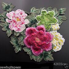 1pc Large 3D (42x35cm) Floral Flower Peony Embroidered Sew On Patch Applique