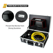 """50M 12LED Sewer Pipe Pipeline Drain Endoscope Snake Inspection Camera+7"""" Monitor"""