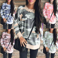 Womens Camo Pullover Sweatshirt Casual Loose Tunic Tops Blouse T Shirt Plus Size