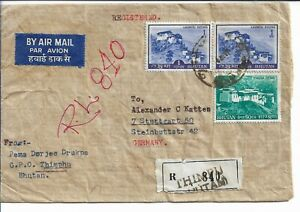 Bhutan Registered cover to Germany 1972 Genuine use