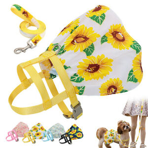 Small Dog Harness and Leash Adjustable Floral Soft Pet Puppy Dress Skirt Yorkie