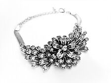 Stunning Chunky Diamante Stones Feathered Leaf Silver Bracelet Designer Style