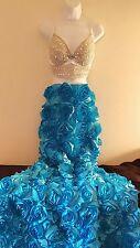 2 Pc Blue & Silver Rosette Jewel Bralette Mermaid Maxi Skirt Wedding Set Party