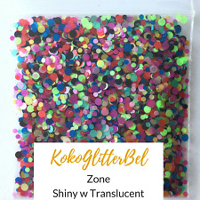 Multi Color Neon Green Shiny Glitter Dots Mix  | 1 TSP |  Acrylic Gel Nail Art