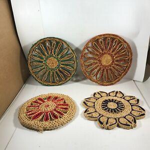 Lot of 4 Vintage Wicker Straw Woven Boho Trivets Hot Pads