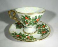 Vintage Porcelain Lustreware Footed Tea Cup & Saucer - Christmas Themed