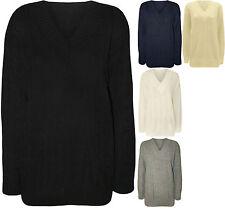 Grobe Damen-Pullover & -Strickware mit V-Ausschnitt ohne Muster