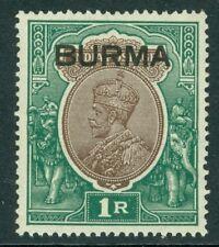 SG 011 Burma 1937 IR Chocolate & Green very lightly mounted mint CAT £38