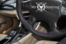FOR JAGUAR X-TYPE 01+ PERFORATED LEATHER STEERING WHEEL COVER HOT PINK DOUBLE ST