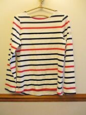 LADIES JOULES WHITE NAVY PINK STRIPED HARBOUR JERSEY LONG SLEEVED TOP SIZE 10 BN