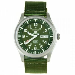 Seiko 5 Sport Men's Automatic Green Dial Canvas Watch SNZG09