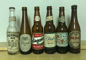 6 different beer/ale bottles;  late 1940's, early 1950's