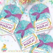 9 X Personalised MERMAID Magical SEA Ocean Gift Tags Birthday Party Favor Thank