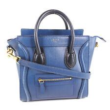 AUTHENTIC CELINE Nano Shopper Luggage Handbag blue/black Calfskin Women