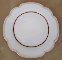 NEW (4) Grace's Teaware SCALLOP PINK TRIM Dinner Plates Winter Home Decor