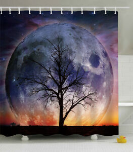 Tree Moon Planet Fabric SHOWER CURTAIN 70x70 w/Hooks Nature Surreal