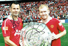 Ryan GIGGS & Paul SCHOLES Double Signed Autograph 12x8 Photo A AFTAL COA