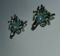 Vintage  Silver & turquoise Colored Spider Clip on Earrings in Box 1980's