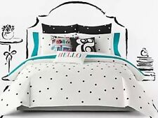 KATE SPADE Deco Dot White / Black Comforter Mini Set W Shams Polka Dot