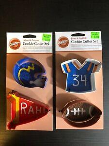 2 - Wilton Cookie Cutter Set Helmet & Pennant, Jersey & Football NOS New on Card