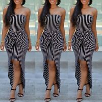 Summer Women's Strapless Maxi Dress Stripe Tube Top Long Skirt Beach Sundress