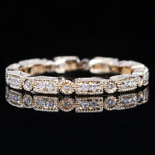 10K YELLOW GOLD WEDDING DIAMONDS ENGAGEMENT FILIGREE RING FULL ETERNITY BAND