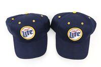 2 vintage Miller Lite strapback hats baseball cap dad navy blue beer brewery Nos