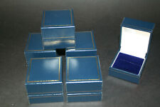 6 Dark Blue Leatherette Ring Boxes