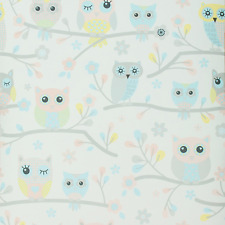 PINK BLUE OWLS FLOWERS CHILDRENS BOYS KIDS GIRLS BEDROOM NURSERY WALLPAPER