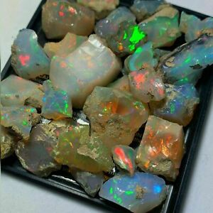 25.00 Cts Lot Natural Genuine Play of Color Multi Fire ETHIOPIAN OPAL WELO ROUGH