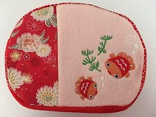 Japanese Chirimen Pouch Gold Fish Red/Pink Chrysanthemum Zipper w/Bell NEW F/S