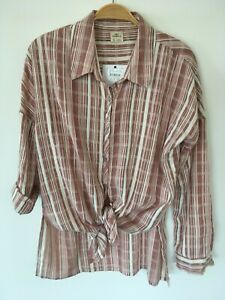 BNWT O'Neill Surf Striped L/S Womens Cotton Shirt - Size S - RRP $69.99