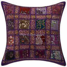 Bohemian Lounge Sofa Cushion Cover 16 x 16 Sequins Patchwork Cotton Pillowcase