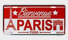 "Tin Plate - ""Bienvenue Paris""  - Mini Souvenir ""license plate"" - Red & White"