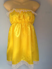 jaune robe satin Déguisement Adulte Bébé Sissy soubrette Cosplay poitrine 36-52