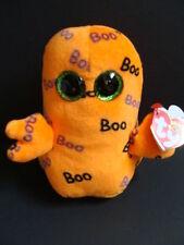 "NWT TY Beanie Boos 6"" GHOULIE Ghost Halloween Plush Orange Boo Glitter Eyes NEW"