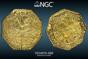 "1884 CALIFORNIA GOLD CHARM / TOKEN ""ARMS OF CALIFORNIA"" NGC MS63 #5954959-008"