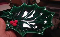 Lefton Japan 1347 Holly Leaf With Berries Trinket Tray