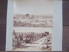 DEUX GRANDES PHOTO ANCIENNES 1890 ALGERIE TIMGAD RUINES ALLEE  ET ARC DE TRAJAN