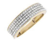 Men's 10k Yellow Gold Pave Round Diamond Engagement Wedding Ring Band 0.40Ct